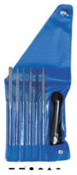 AJAX 286221971636 Sada jehlových rašplí 160/3R ruční sek-Sada rašplí jehlových 160mm, 6-dílná, ruční sek 3, s držadlem, ve vinylovém pouzdře