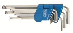 NAREX 443000883 Sada klíčů 9dílná imbus 710.609K Crv-9dílná sada šestihranných úhlových klíčů s kuličkou pro šroubování pod úhlem (IMBUS) 1,5-10mm - zinkovaný DIN710