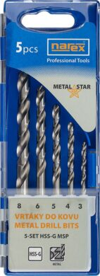 NAREX 65405599 Sada vrtáků do kovu 3-8mm (5ks) 5-SET HSS-G MSP(7916050)