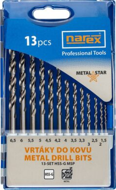 NAREX 65405601 Sada vrtáků do kovu 1,5-6,5mm (13ks) 13-SET HSS-G MSP(7916051)
