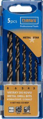 NAREX 65405604 Sada vrtáků do kovu 3-8mm 5% Cobalt (5ks) 5SET HSS-Co MSP(7916054)