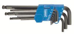 NAREX 443000871 Sada klíčů 9dílná imbus 710.609K černý-9dílná sada šestihranných úhlových klíčů s kuličkou pro šroubování pod úhlem (IMBUS) 1,5-10mm - černý DIN710
