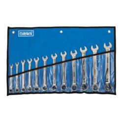 NAREX 443000593 Sada klíčů 12dílná ráčnových vinyl DIN3113-12dílná sada ráčnových klíčů ve vinylovém pouzdře DIN3113