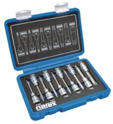 """NAREX 443000962 Sada hlavic 1/2"""" zástrčných TORX TX 20-70 L100mm 10dílná-10dílná sada 1/2 TORX (TX) zástrčných prodloužených hlavic v plastovém kufříku."""