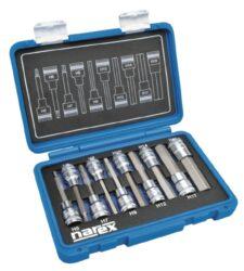 """NAREX 443000958 Sada hlavic 1/2"""" zástrčných imbus 5-19mm L100mm 10dílná-10dílná sada 1/2 IMBUS zástrčných prodloužených hlavic v plastovém kufříku."""