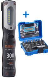 NAREX 65405194 Sada svítilna FL LED 3 M + sada bitů 29-Bit Box-Sada svítilna FL LED 3 M + sada bitů 29-Bit Box